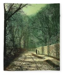 Tree Shadows In The Park Wall Fleece Blanket