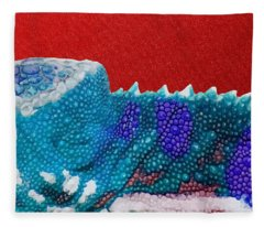 Turquoise Chameleon On Red Fleece Blanket