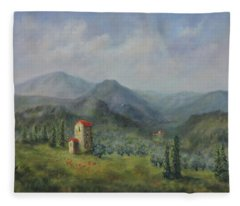 Tuscany Italy Olive Groves Fleece Blanket