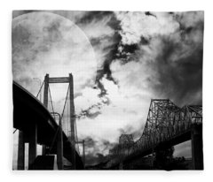 Two Bridges One Moon Fleece Blanket