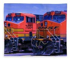 Two Trains Fleece Blanket