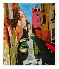 Unfinished Venice Italy  Fleece Blanket