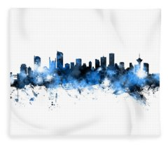 Vancouver Canada Skyline Panoramic Fleece Blanket