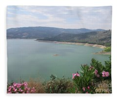 View Of The Lake In Iznajar Fleece Blanket