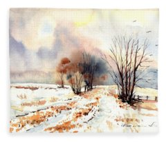 Village Scene Iv Fleece Blanket