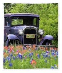 Vintage Ford Automobile Fleece Blanket