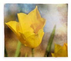 Water Lily Tulip Flower Fleece Blanket