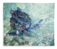 Watercolor Turtle Fleece Blanket