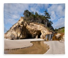 Waterfall Flowing Into The Pacific Ocean Fleece Blanket