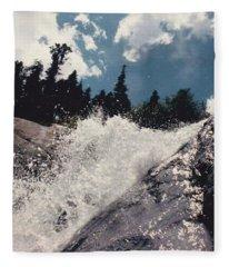 Waterfalls In The Rockies Fleece Blanket