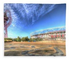West Ham Fc Stadium And The Arcelormittal Orbit  Fleece Blanket