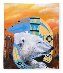 White Bear Goes Southwest Fleece Blanket