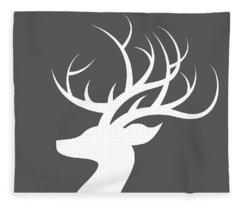White Deer Silhouette Fleece Blanket