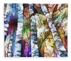 White Trees Fleece Blanket