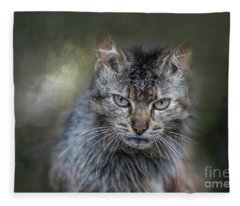 Wild Cat Portrait Fleece Blanket