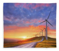 wind turbines in Oiz eolic park Fleece Blanket