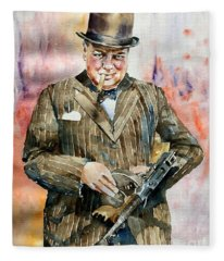 Winston Churchill Portrait Fleece Blanket