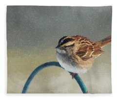 Winter Sparrow Fleece Blanket