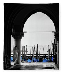 Woman At Doges Palace Fleece Blanket