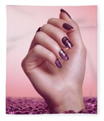 Woman Hand With Purple Nail Polish Fleece Blanket