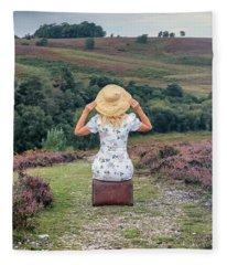 Woman On A Hill Fleece Blanket