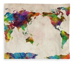World Map Urban Watercolor Pacific Fleece Blanket