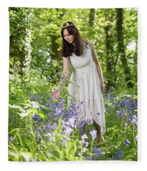 Young Woman In Bluebell Woodland Fleece Blanket