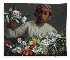 Young Woman With Peonies Fleece Blanket