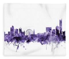 Manchester England Skyline Fleece Blanket