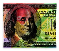 Benjamin Franklin - Full Size $100 Bank Note Fleece Blanket