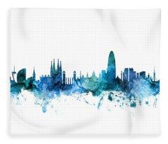 Barcelona Spain Skyline Fleece Blanket