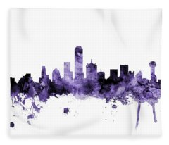 Dallas Texas Skyline Fleece Blanket