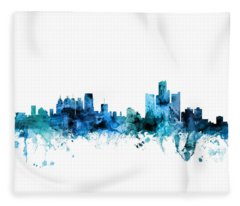 Detroit Michigan Skyline Fleece Blanket