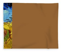 Wheatfield With Crows Fleece Blanket