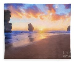 12 Apostles With Marshmallow Skies    Og Fleece Blanket