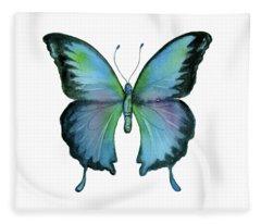 12 Blue Emperor Butterfly Fleece Blanket