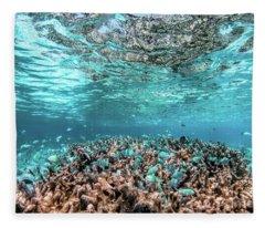 Underwater Coral Reef And Fish In Indian Ocean, Maldives. Fleece Blanket