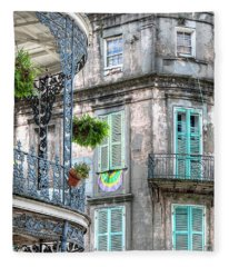1358 French Quarter Balconies Fleece Blanket