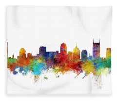 Nashville Tennessee Skyline Fleece Blanket