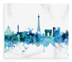 Paris France Skyline Fleece Blanket
