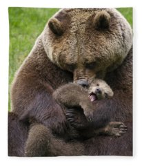 Mother Bear Cuddling Cub Fleece Blanket