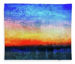 15a Abstract Seascape Sunrise Painting Digital Fleece Blanket