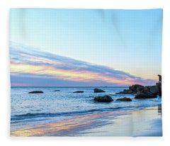 Rocky Daybreak Seascape Fleece Blanket
