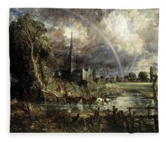 Salisbury Cathedral From The Meadows Fleece Blanket