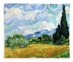 Wheat Field With Cypresses Fleece Blanket