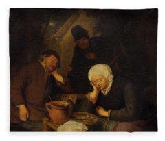 17th Century Follower Of Ostade, Adriaen Van 1610 Haarlem 1685 Interior With People Sleeping At A  Fleece Blanket