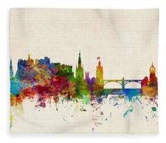 Edinburgh Scotland Skyline Fleece Blanket