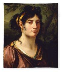 1800 Autoritratto La Pittrice Maria Callani Fleece Blanket