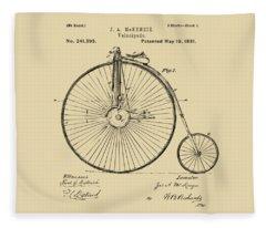 1881 Velocipede Bicycle Patent Artwork - Vintage Fleece Blanket