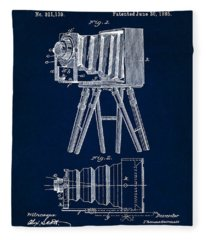 1885 Camera Us Patent Invention Drawing - Dark Blue Fleece Blanket